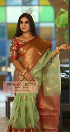 PV 3896 : Mint green organza Price : 4900 Rs Look classy in this light weight mint green self patterned organza sari with rich pink zari border Unstitched blouse piece : Running blouse piece / Maggam blouse as in the picture will cost you extra For Order Cotton Saree Designs, Wedding Saree Blouse Designs, Half Saree Designs, Saree Blouse Neck Designs, Fancy Blouse Designs, Silk Saree Banarasi, Kota Silk Saree, Organza Saree, Chiffon Saree