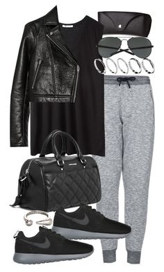 """""""Untitled #15986"""" by florencia95 ❤ liked on Polyvore featuring H&M, Topshop, T By Alexander Wang, MANGO, NIKE, ASOS and Ray-Ban"""