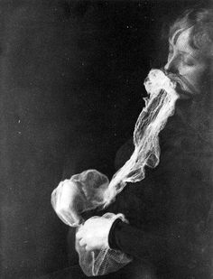 """Photo of a Spirit Medium with Ectoplasm . Albert von Schrenck-Notzing, """"The medium Stanislawa P- emission and resorption of an ectoplasmic substance through the mouth"""", 23 June Gelatin silver print Spirit Photography, Vintage Photography, Eerie Photography, Human Photography, Monochrome Photography, Photography Projects, The Darkness, Creepy Photos, Montage Photo"""