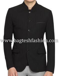 5 Button Black Nehru Collar Jacket Nehru Jackets, Jodhpur, Blazers For Men, Sport Coat, Black Fabric, Party Wear, Buttons, Pure Products, Suits