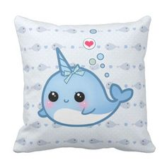 Cute child narwhal throw pillow.  Have a look at even more at the photo