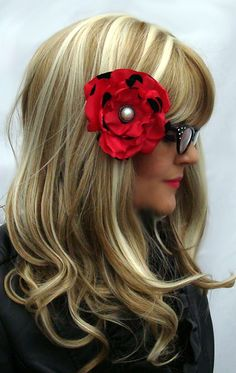Flower Hair Clip  Retro Red and Black Flower by OnceUponAPoodle, $5.00