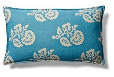 Maddison 12x20 Cotton Pillow, Blue