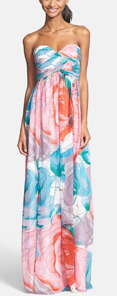 Watercolor inspired maxi http://rstyle.me/n/vkpdsn2bn ... For that beach wedding
