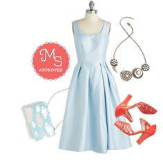 In this outfit: Confident and Powder-ful Dress, Rosette Quintet Necklace in White, Dancing on Cloud Nine Clutch, Sunporch Serenade Heel in Poppy #specialoccasion #fancy #dresses #spring #summer #cute #latest #ModCloth #ModStylist #outfits #ootd #style