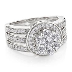 Ladies Diamond Rings 14K Cluster Diamond Ring 1.72ct