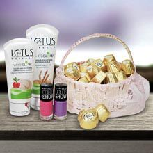 A good gift for wife:Chocolates & Cosmetics Anniversary Hamper