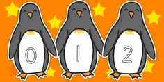 0 30 Numbers On Penguins - animals, counting aid, counting, count