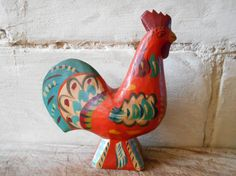 French vintage rooster wooden figurine 8.26  tall par Birdycoconut