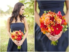 Dallas wedding photographer, orange flowers, bridesmaids bouquets, navy bridesmaid dress, fall wedding, College Station, TX, Mary Fields Photography