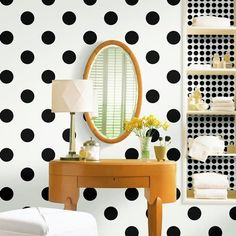 "Polka DotsDAJ092-DW  Polka Dot-Black & White Wall Paper-DW    Scrubbable, Strippable, PrePasted  Vinyl Protected  4.5"" Polka Dots  Roll Contains: 27 ft  x 27""wide  Packaged in Double Rolls  Price: $ per Roll"