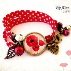 Bracelet liberty cabochon • coquelicots • fleurs pois rouge blanc