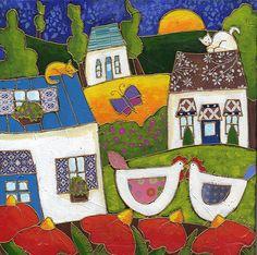 Le baiser des poules par Isabelle Malo • Acrylique sur toile et collage • Mixed media • Folk art  • www.isamalo.com • Artiste peintre du Québec •Art naïf