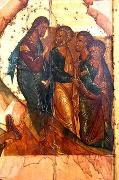 Transfiguration.  Russian icon of the XVI century.  Fragment.  Christ and the apostles descend from Mount Tabor.