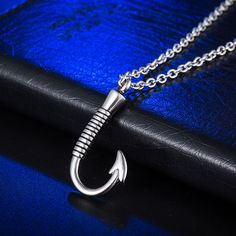 316L Stainless Steel Fish Hook Necklace Memorial Cremation Urn Necklace Locket Pendant Bone Ash Jewelry For Men Women Pendant