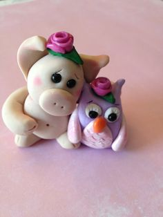 Polymer Clay Pig - Polymer Clay Owl - Best Friends Clay Sculpture - Cake Topper - Best Friend Gift - Pig Gift on Etsy, $18.00