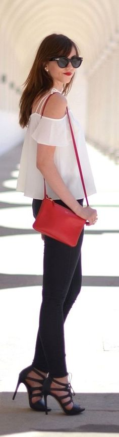 Black, White And Red Summer Outfit by Vogue Haus