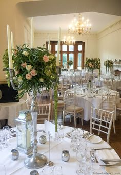 Elegant silver candelabra in the Banqueting Hall at St Audries Park. A Wilde Bunch design. Bristol Channel, Silver Candelabra, Park Weddings, Wedding Flowers, Wedding Venues, Table Settings, Table Decorations, Elegant, Furniture