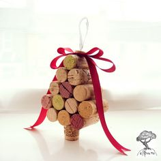 Shabby Chic Cork Christmas Tree Decoration Wine Red by aRinneMe