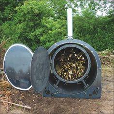 EXETER charcoal making kiln RETORT open and full of firewood Trailer mounted bigsize charcoal Kiln portable