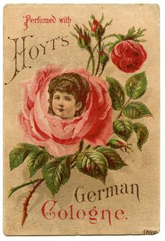 Vintage Advertising Image - Girl in Rose - The Graphics Fairy