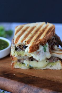 The Ultimate Man Sandwich! Steak & Cheese Panini with a Zesty Chimichurri Sauce | www.joyfulhealthyeats.com