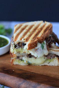 The Ultimate Man Sandwich... Steak & Cheese Panini with a Zesty Chimichurri Sauce. | www.joyfulhealthyeats.com