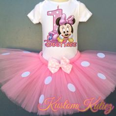 Baby Minnie Mouse Birthday Outfit  Light Pink by KustomKutiez, $10.00