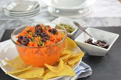 This carrot dip is a light dish you might use for your Super Bowl party, but not without the flavor & some heat from hot chili pepper paste.