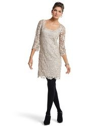 3/4-Sleeve Gold Lace Shift Dress - whbm