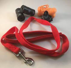 DOG LEASH SET 2D-RD (0.79 IN): [ + DISPENSER + BAGS] #Unbranded