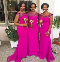 Cheap bridesmaid gowns cheap, Buy Quality bridesmaid gown directly from China bridesmaid dresses lace Suppliers: Africa Bridesmaid Dress Fuchsia Mermaid Long Bridesmaid Dresses Lace Sleeve Vestido De Festa De Casamento Bridesmaid Gowns Cheap Fuschia Bridesmaid Dresses, African Bridesmaid Dresses, Red Bridesmaids, Bridesmaid Dress Styles, Fuschia Dress, Fuschia Wedding, Pink Dresses, Lovely Dresses, Formal Dresses