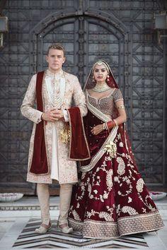 Ideas Indian Bridal Lehenga Red Brides Wedding Outfits For 2019 Indian Bridal Outfits, Indian Bridal Lehenga, Pakistani Bridal Wear, Couple Wedding Dress, Indian Wedding Couple, Indian Weddings, Indian Wedding Jewellery, Indian Wedding Food, Groom Wedding Dress