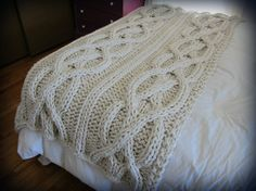 Luxury Oversized Cable Knit Blanket MADE TO ORDER by OzarksMomma, $245.00