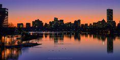 Boston behind the Charles River at sunrise from the Boston University bridge [OC][4800x2400]