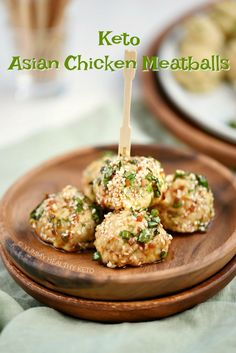 Keto Asian Chicken Meatballs are the perfect appetizer, game day food or fun dinner option that has it's own tangy dipping sauce! Appetizer Recipes, Keto Recipes, Appetizers, Bacon Wrapped Avocado, Trail Mix Recipes, Chicken Meatballs, Keto Meatballs, Asian Chicken, Dinner Options