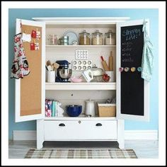 UpCycle That Old Armoire: Let it spice up your kitchen! An armoire turned baking cabinet is perfect for storing kitchen supplies! Get more smart storage ideas here: /. Armoire Pantry, Armoire Cabinet, Kitchen Armoire, Antique Armoire, Pantry Closet, Larder Cupboard, Antique Cupboard, Craft Cabinet, Antique Doors