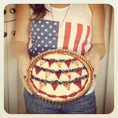 Fourth of July bunting flag fruit tart