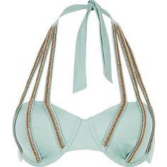 River Island Green jewel strap halterneck bikini top ($35) ❤ liked on Polyvore featuring swimwear, bikinis, bikini tops, embellished bikini, river island bikini, swimsuit tops, halter bikini top and halter swim top