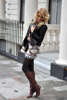 sparkly skirt with tights boots & leather jacket