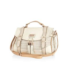 River island has the cutest bags!!!!! Beige woven panel studded satchel  £35.00