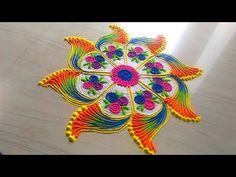 How to make beautiful easy simple rangoli - Simple Craft Ideas New Latest Rangoli Designs, Rangoli Designs Diwali, Rangoli Designs Images, Rangoli Designs With Dots, Beautiful Rangoli Designs, 3d Rangoli, Indian Rangoli, Easy Rangoli Patterns, Rangoli Borders