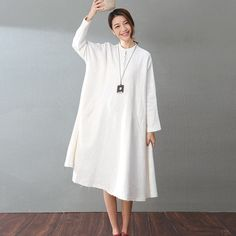 Spring Loose Cotton-Linen A-Dress