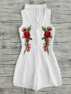 V Cut Rose Embroidered Applique Zip Back Romper