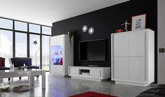 Blanc mobili ~ Séjour venezia laqué blanc et gris basika meuble