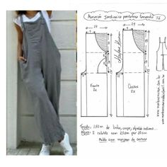 Dress Sewing Patterns, Sewing Patterns Free, Clothing Patterns, Sewing Clothes Women, Diy Clothing, Barbie Clothes, Jumpsuit Pattern, Pants Pattern, Fashion Sewing