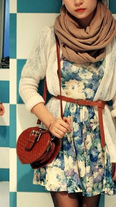 floral dress with belt and scarf and sweater
