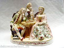 Porzellanfigurengruppe Porzellan Figurengruppe Rokoko Schach Schachspiel Vintage