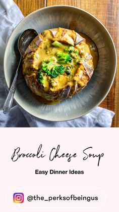 Broccoli cheese soup has got to be one of the creamiest, dreamiest soups ever. We prep most of the ingredients on a Sunday so that making soup when we get home is a snap! This broccoli cheese soup can be served for dinner in sourdough bowls. Be sure to make enough so you can have leftovers to take in for lunch the next day! Broccoli Soup Recipes, Broccoli Cheese Soup, Healthy Soup Recipes, Easy Dinner Recipes, Whole Food Recipes, Easy Dinners, Healthy Food, Yummy Food, Going Vegetarian