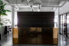 Brass Front Desk in Interior Design Studio